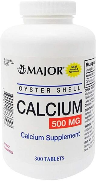 Major Oyster Shell Calcium Carbonate Vitamin D 500 MG 300 Tabs EXP:06 2022 $17.99