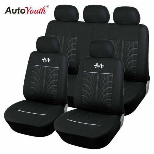 Car Seat Cover Protector Car Interior Decoration Full Set of Front Rear Black $31.99