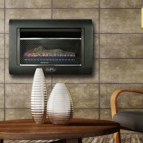 Duluth Forge Fireplace 28 In Ventless Linear Wall Gas Thermostat Dual Fuel Black