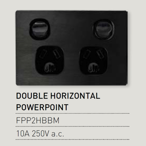 Vynco Fusion Black Metal Wall Horizontal Double PowerPoints With Dual Switch AU $9.95