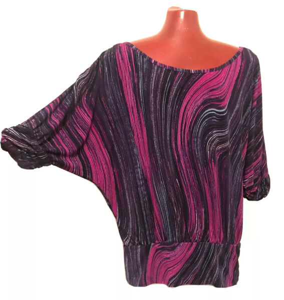 XL Candie#x27;s Top Blouse Shirt Stretch Scoop neck Short sleeve Black Pink Purple