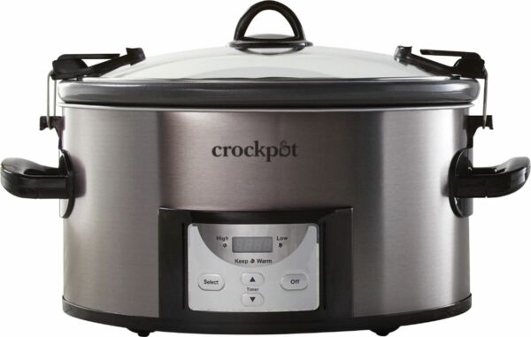 Crock Pot Cook amp; Carry Programmable 7 Quart Slow Cooker with Easy Clean Bla...