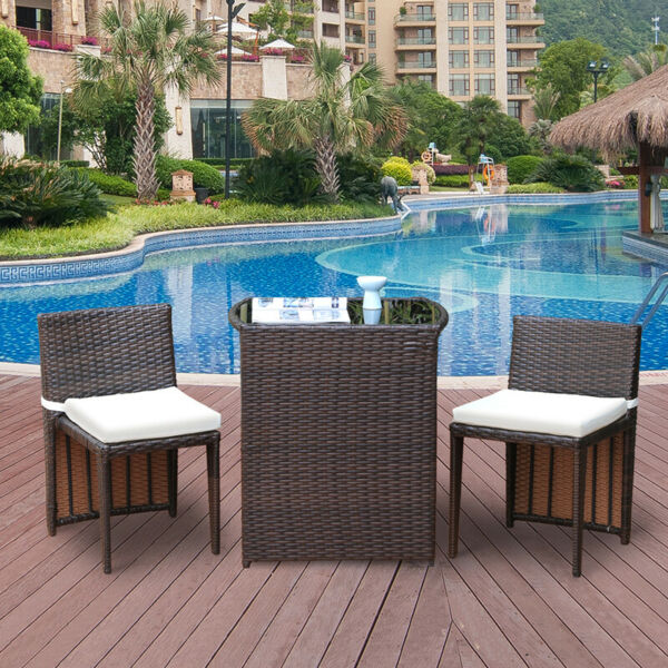 3Pcs Wicker Rattan Patio Outdoor Furniture Sofa Bistro Set Garden Modern Brown $149.99