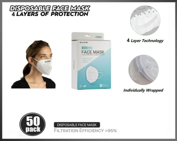 50 PACK KN95 Protective Face Mask BFE 95% PM2.5 Disposable Respirator $14.79