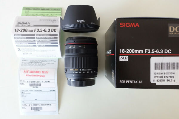 Sigma 18 200mm f 3.5 6.3 DC Lens for Pentax Refurbished in box