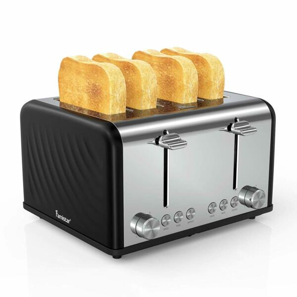 4 Slice Toaster Stainless Steel Toaster with Defrost Reheat Cancel Function