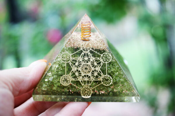 Natural Peridot Orgone Pyramid Metatron Cube LARGE 75mm 3in EMF amp; 5G Protection $15.97
