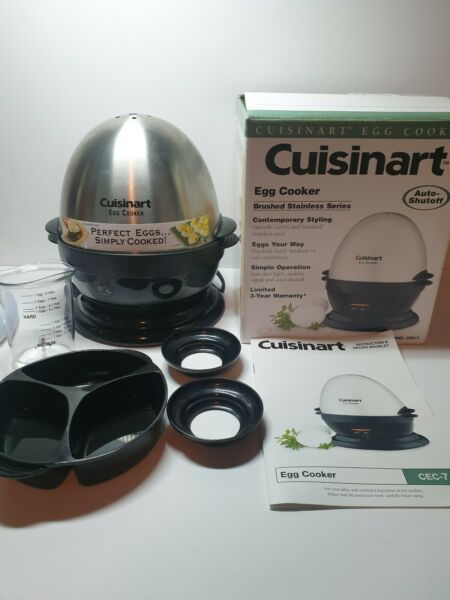 Cuisinart Egg Cooker Brushed Stainless Series Model CEC 7 Auto Shutoff Cooks 7
