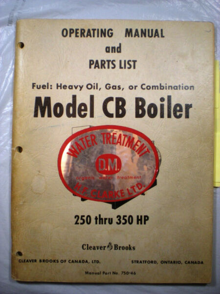 Cleaver Brooks Heavy Oil amp; Gas Boilers Manual Asbestos Cement Insulation Gaskets $395.00