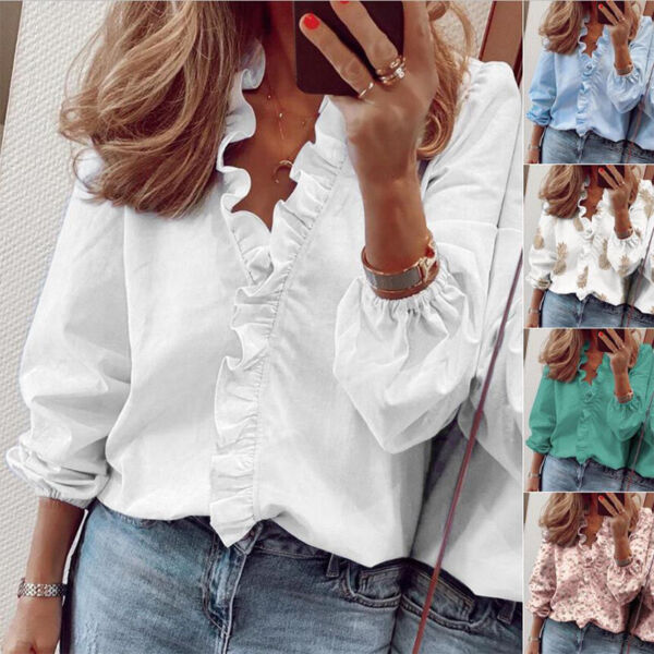 Women Long Sleeve Casual T Shirt Ruffle V Neck Tops Loose Blouse Floral Tunic