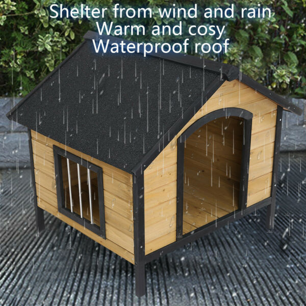 Wood Dog House Elevated Pet Shelter Large Kennel Room Weather Resistant Outdoor $148.88