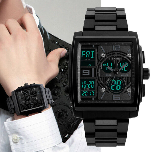 Army Military Waterproof Sport Men#x27;s Quartz Analog Digital Large Wrist Watch
