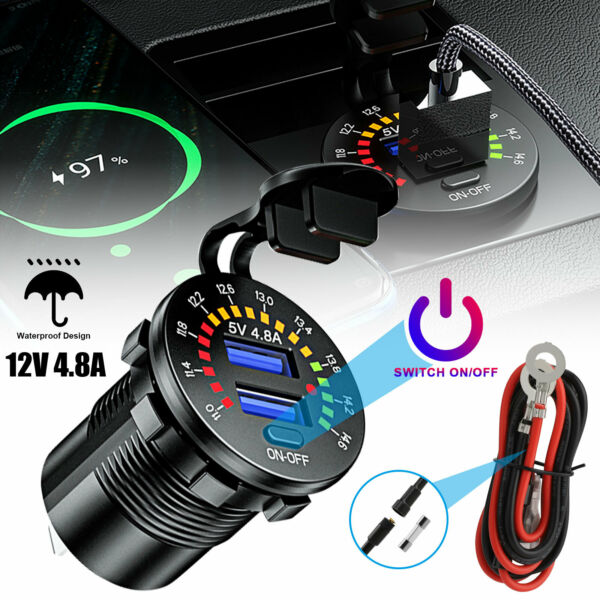 12V 4.8A Dual USB Car Fast Charger Socket Power Outlet LED Voltmeter Waterproof $12.98