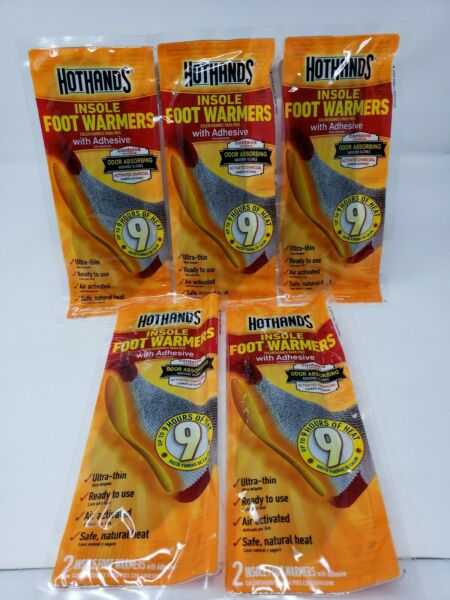 NEW HotHands Insole Foot Warmers w Adhesive 9 Hours of Heat 5 Pairs Packs $10.97