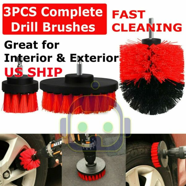 3PCS Drill Brush Power Scrubber Drill Attachments For Carpet Tile Grout Cleaning