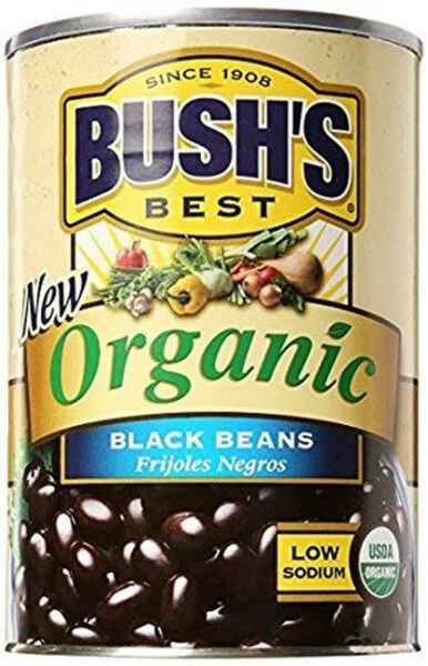BUSH#x27;S BEST Organic Beans Low Fat Gluten Free High Protein 15oz Pack of 24