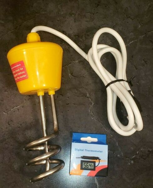 NOB CalPalmy Yellow Immersion Water Heater One Submersible One Floating Heater $33.00