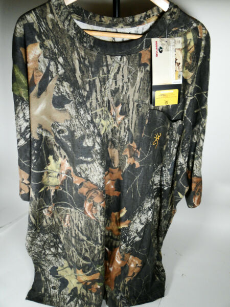 Browning Wasatch Mossy Oak T Shirt Men#x27;s Large XXL Camo Short Sleeve Break Up