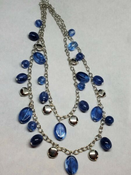 Double Stand Silver Necklace Blue Beads $10.00