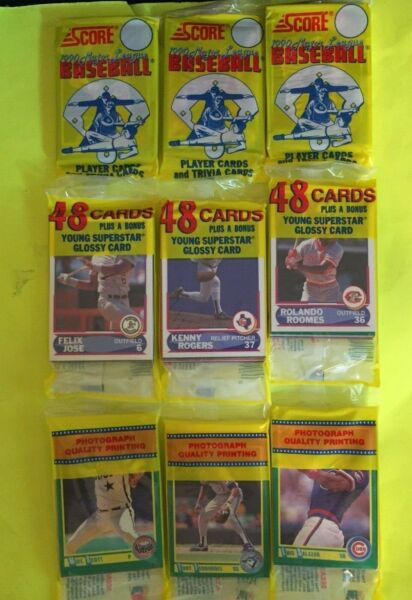 1990 Score Baseball Rack Pack 3 Rack Pack Lot Factory Sealed Kenny Rogers YS $3.89