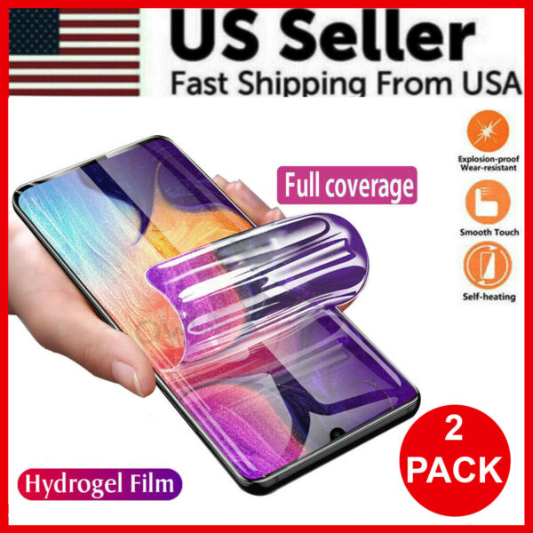 2 Pack HYDROGEL Screen Protector Samsung Galaxy S20 Ultra S10 S9 S8 Plus Note 20