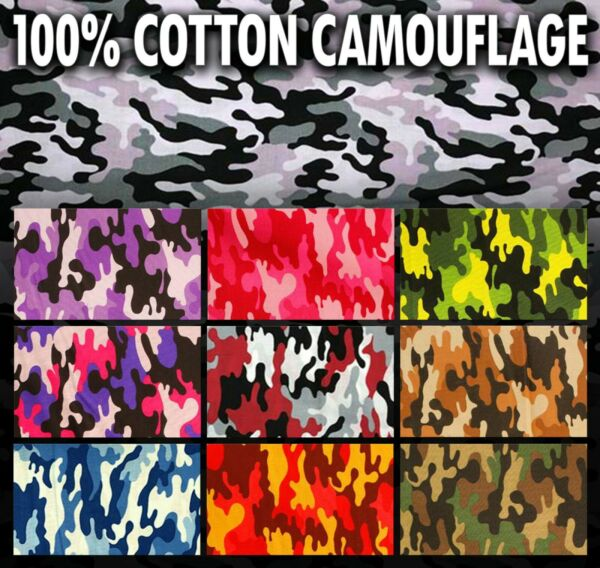 100% Cotton Quilt Prints Fabrics Camouflage 45quot; Wide Sold by the yard