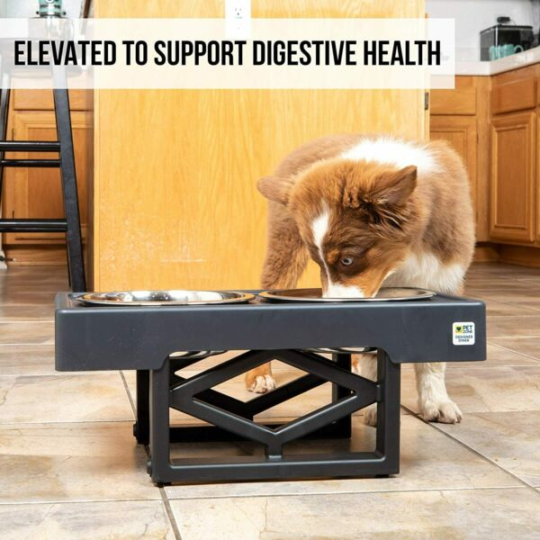 Elevated Dog Feeder Stand 2 Stainless Steel Water Bowl Height Adjusted Food Tray $42.89