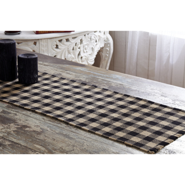 New Primitive Cabin Rustic Tan Black Check Burlap Table Runner 48quot;