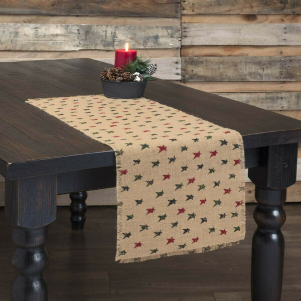 New Primitive Farmhouse Rustic RED GREEN STAR CHRISTMAS Burlap Table Runner 36quot;