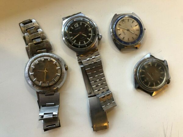 old wrist watches ussr lot 4 pieces commander#x27;s east military for repair.