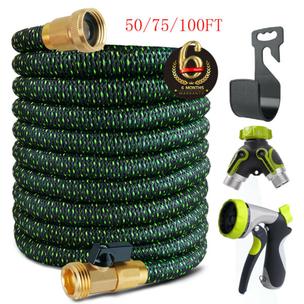 3X Stronger Brass Deluxe Expandable Flexible Garden Water Hose 5075100ft
