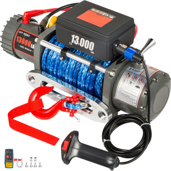 13000LBS Electric Winch 12V Synthetic Rope Off road ATV UTV Truck Towing Trailer $272.95