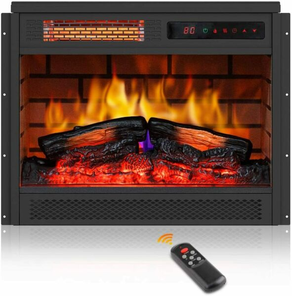 "23"" Electric Fireplace Stove Heater Stove Realistic Flame Remote Control 1500W"
