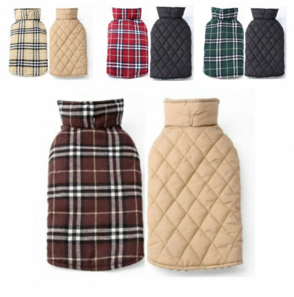 Dog Coat Windproof Winter Warm British Style Plaid Vest Apparel Jacket For Pet $13.99