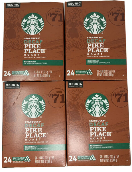 STARBUCKS DECAF Pike Place Coffee K Cups 96 count Best By October 2020