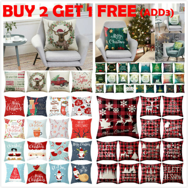 18quot; Christmas Xmas Cushion Cover Pillow Case Cotton Linen Home Sofa Throw Decor.