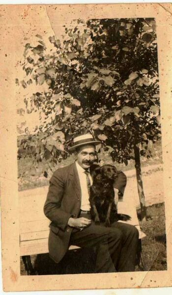 Antique Vintage Photograph Men Wearing Hat Sitting on Bench With Puppy Dog