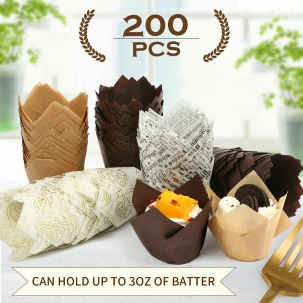 200pc Tulip Cupcake Wrappers Muffin Liners Greaseproof Baking Cups for Birthday