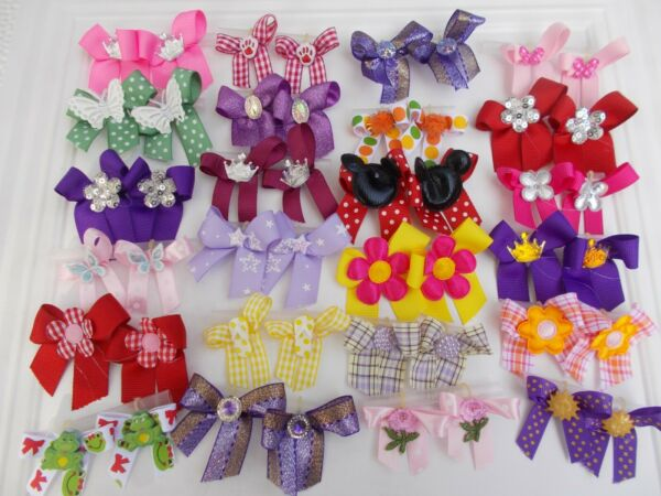 48 Fancy Dog Pet Child Baby Grooming Bows 2 sizes color variety Lot # 262 $16.55