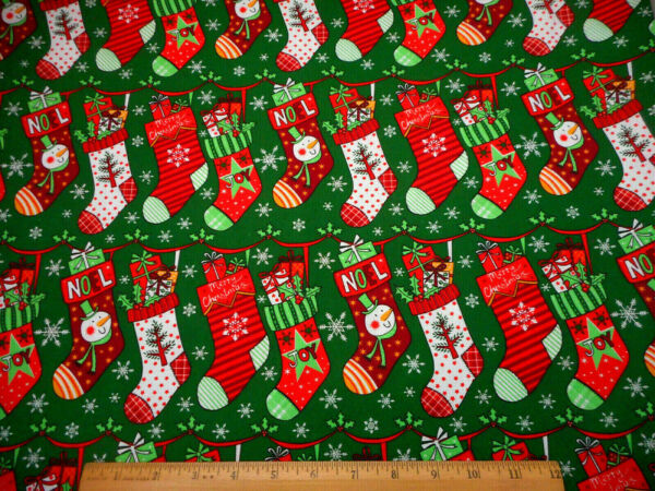 Cotton Fabric By Yard Red White Grn Christmas Stockings Gifts Snow on Green #19