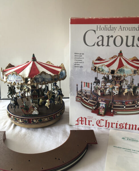 Mr. Christmas Holiday Around The Carousel 2002 Working Complete Musical Motion
