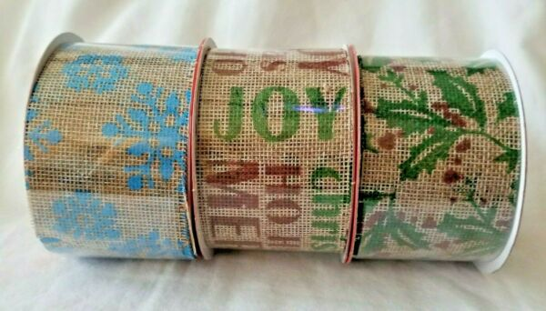 Christmas House Burlap Ribbon 9 ft Roll Snowflake Holly For Wreaths Gift Bows