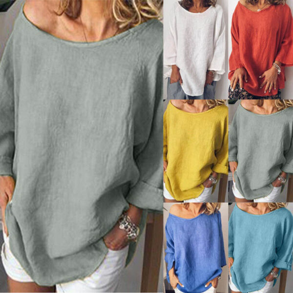 Women Casual Long Sleeve T Shirt Cotton Linen Crew Neck Solid Tunic Loose Blouse