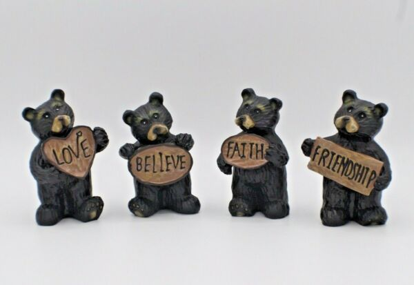 Black Bear Statues Holding Hope Peace Love amp; Believe Sign Set of 4 Cute 3#x27;#x27; Tall