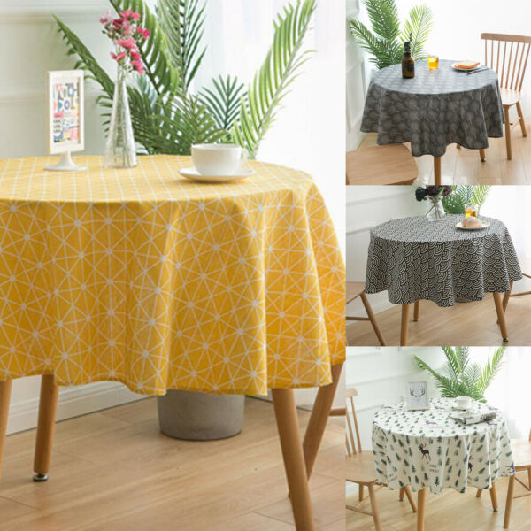 Print Round Printed Cotton Linen Tablecloths Dining Cover Party Tablecloth Home