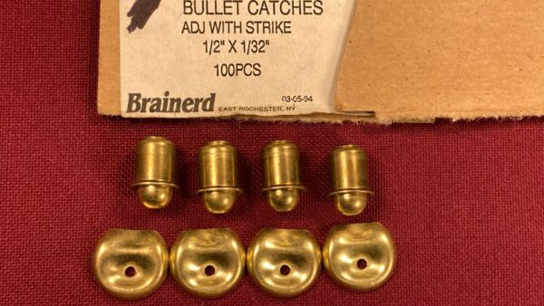 4 Vintage Small Brass Finish Bullet Roller Spring Cabinet Door Ball Catch Latch