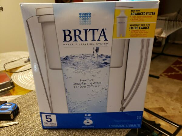 2 NEW Brita Slim Model Water Filter Pitchers 5 Cup Capacity with Filter