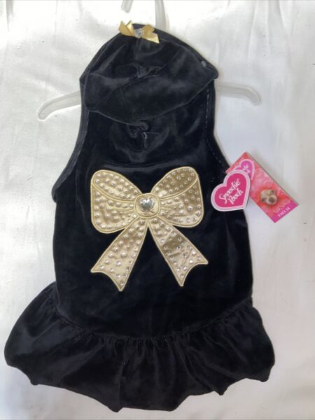 Smoochy Pooch Black Gold Bling Bow Hoodie Dress Size Large For Dog $15.00
