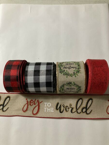 "Lot 5 Wired Ribbon 4 Yds Each Faux Burlap Christmas Buffalo Check 2.5 amp; 1.5"" New"