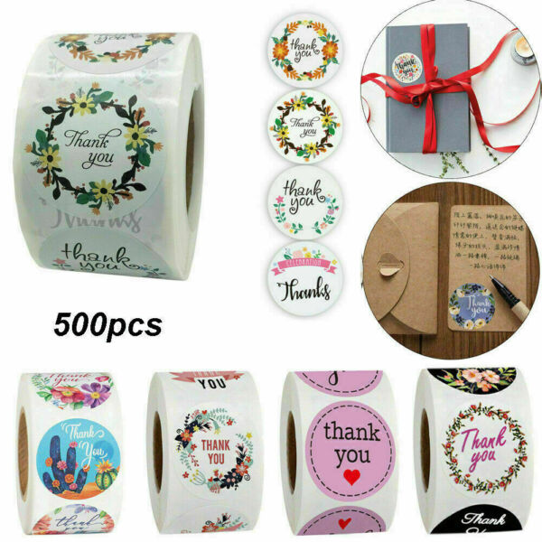 2020New Thank You Stickers For Your Purchase Business Labels Round Heart Wedding